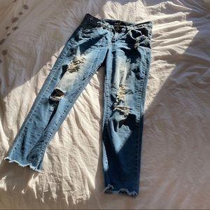 Baggy boyfriend blue jeans